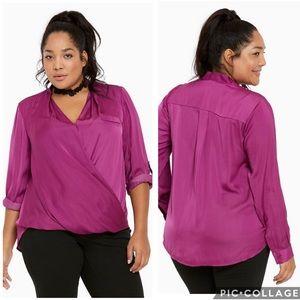 NWT Torrid surplice neck satin blouse in Hollyhock